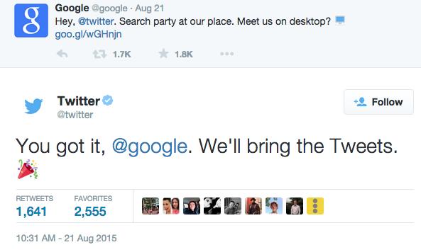 Google tweets Twitter